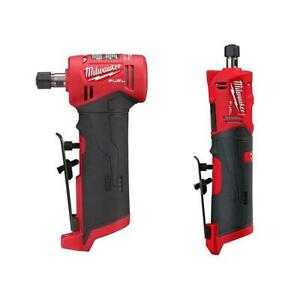 """Milwaukee FUEL Cordless 1/4"""" Right Angle Straight Die Grinder Kit 12V Tools Only"""