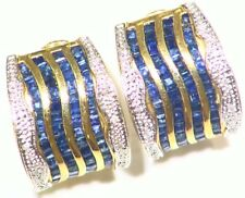5.36CT 14K Gold Natural Cut Sapphire White Diamond Vintage Engagement Earrings