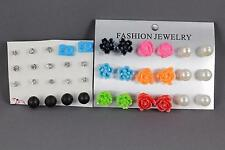 17 pair plastic faux pearl daisy flower ball post stud earrings metal backs