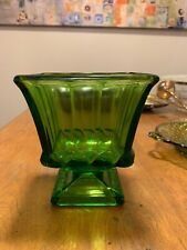 Art Deco Green Glass Compote/Footed Vase