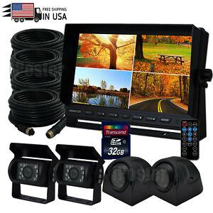 "9"" Quad DVR Split Screen Monitor AHD 4PIN Backup 1080p Camera for Truck Caravan"