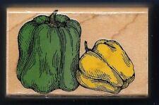 PEPPERS Green Yellow Garden Veggies Hero Arts C971 1994 Wood Hobby Rubber Stamp