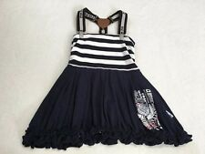 Pom Pom 98 3 3T  Navy Blue White Sailor Stripe Suspender Bubble Dress Nautical