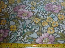 Windham Quilt Fabric Tiffany Lg Floral Print Pink Yellow-gold Flowers Gray BTY