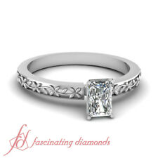 Floral Chain Solitaire Engagement Ring 3/4 Carat Radiant Cut VS1 Diamond 14K GIA