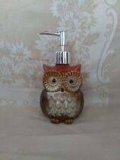 Glazed Ceramic Orange Owl Soap Dispenser for Kitchen or Bathroom