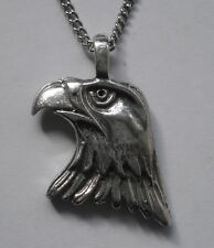 Chain Necklace #1155 Pewter EAGLE HEAD (27mm x 23mm) BIRD PENDANT