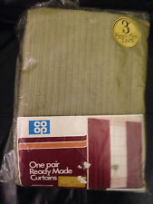 "Vintage Co-Op 'velstripe green textured curtains 66 x 54"" wide (each curtain)"
