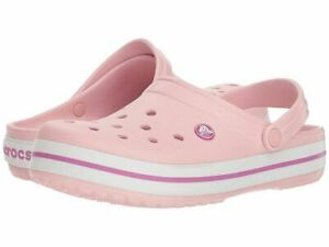 NEW - CROCS 'CROCBAND' Pearl Pink/Wild Orchid SLIP-ON CLOG SHOES - M4 / W6