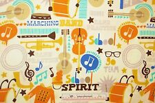 Marching Band School Go Team Practice Cotton Flannel Fabric   BTY (J12) <
