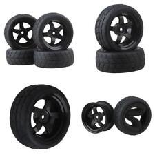 BQLZR Black RC 1: 10 Flat Car 12mm Hub Wheel Rims 5 Spoke + Rubber Tires...