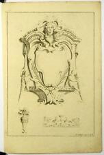 Gravure sur cuivre originale de Poilly, Ornements,Lions