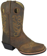 Brown Distress Square Toe Boot With Saddle Vamp