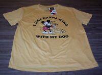WOMEN'S TEEN Walt Disney MICKEY MOUSE PLUTO T-shirt LARGE NEW w/ TAG