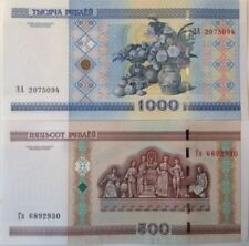 BELARUS 2000/2012 500 & 1000 RUBLES UNC BANKNOTE PAIR BUY FROM A USA SELLER !!!!