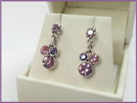 NEW PILGRIM SILVER EARRINGS Pink Violet SWAROVSKI CRYSTALS GEO COLLECTION drop
