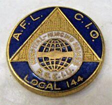 vintage LOCAL 144 B.S.E.I.U. HOSPITALS & NURSING HOMES enamel inlay tack pin ^