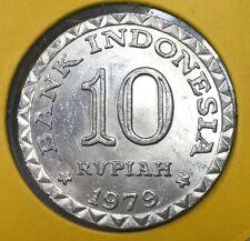 1979  Indonesia 10 rupiah  Alum.  Coin  High Bu Grade  & scare coin!