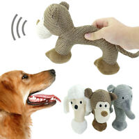 Cozy Stuffed Plush Dog Toy Interactive Chew Bite Squeaker Puppy Dog Toys Gray