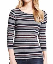 Unbranded Viscose 3/4 Sleeve Striped Tops for Women