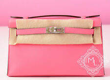 NEW HERMES PINK ROSE AZALEE MINI KELLY POCHETTE CUT BAG CLUTCH BIRKIN LIPSTICK