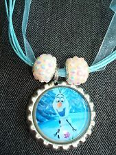 Blue Organza Ribbon Necklace Bottle Cap Bling Sparkle Beads Frozen Snowman Olaf