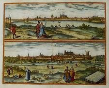 ANSICHTEN FRANKREICH BRAUN & HOGENBERG ORLEANS BOURGES PRACHTVOLL KOLORIERT 1581