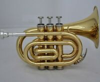 Top Brand New Gold Pocket Trumpet Bb horn Large bell With Case