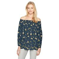 New MAX STUDIO Womens Small Blue Floral Pleated Off the Shoulder Blouse nwt
