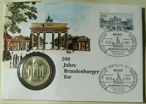 BRD Numisbrief 200 Jahre Brandenburger Tor 1991