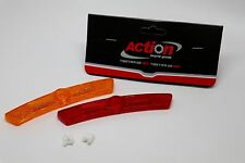 "ACTION BICYCLE BIKE SPOKE MOUNTED WHEEL REFLECTOR SET OF TWO 5"" AMBER & RED NEW"