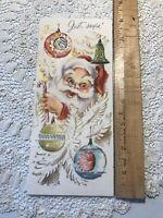 Vintage Christmas Card MCM Santa Shiny Brite Ornament Indent Gold Pink Blue Tall