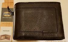 """Brand New Fossil """"Hurst Traveller"""" Leather Men's Trifold Wallet"""