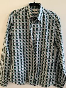 KENZO Green Shirt Cotton Slim  42/16.5 New Without Tags