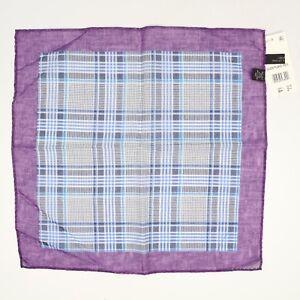 NEW Bloomingdales Silk Cotton Pocket Square Purple Blue Glen Plaid Rolled Edge