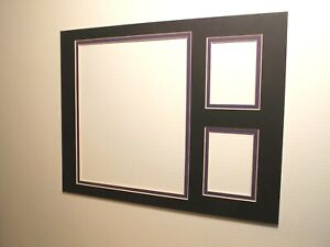 Picture Frame Double Mat 11x14 for 8x10 photo /Trading Cards Black Purple liner