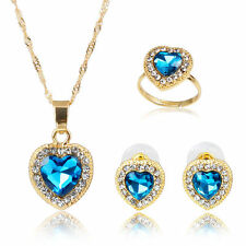 Fashion Heart-shaped Zircon Rhinestone Pendant Necklace Earring Ring Jewelry Set