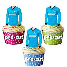 PRECUT Uruguay Football Shirt Cupcake Toppers Cake Decorations