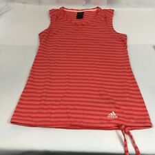 Adidas Outdoor Womens Sz S Athletic Run Yoga Striped Orange Tank Top Drawstring