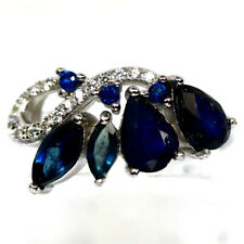NATURAL BLUE SAPPHIRE & WHITE CZ RING 925 STERLING SILVER SIZE7
