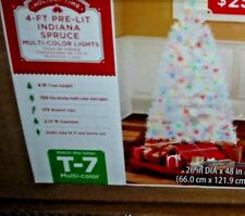Holiday Pre-Lit 4' Indiana Spruce White Artificial Christmas Tree Multi-Color