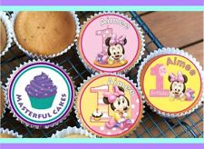 24 PERSONALISED MINNIE MOUSE 1ST BIRTHDAY EDIBLE RICE PAPER CUP CAKE TOPPERS
