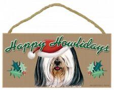 "TIBETAN TERRIER-Bk & Wh---Happy Howlidays-Dog Decorative Wood Plaque/Sign 5""x10"""
