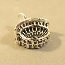 .925 Sterling Silver 3-D ROMAN COLOSSEUM CHARM NEW Rome Coliseum Italy 925 TR73