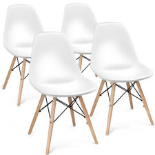 COSTWAY Set of 4 Mid Century Modern DSW Dining Side Chair Wood Legs White