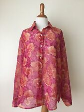 Impressions button up long sleeve Pink Orange Roses sheer tunic shirt L (LA14)