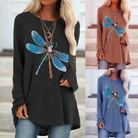 KQ_ Women Casual Loose Pullover Blouse Print Autumn O Neck Long Sleeve Tops
