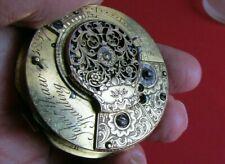 18thC JOHN SHAW Verge Fusee Movement with Enamel Dial / Engraved Gargoyle