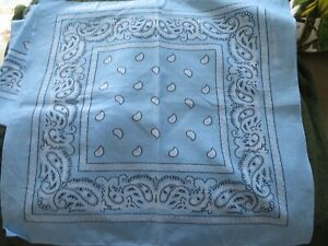 "7 blue and white print cotton bandanas (identical) 22"" sq."