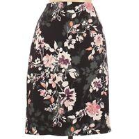 WHBM White House Black Market Womens Pencil Skirt Size 6 Black Floral Back Zip